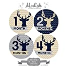 12 Monthly Baby Stickers, Boy, Deer, Antlers, Baby Belly Stickers, Monthly Onesie Stickers, First Year Stickers Months 1-12, Chevron, Tan, Beige, Taupe, Blue, Navy, Gray, Grey, Woodland, Baby Boy