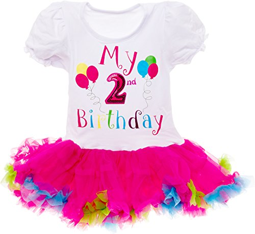 Silver Lilly Baby Girls Birthday Outfit - Its My Birthday Printed Tutu Dress for Toddlers (Multi Color, 2 Year Old)]()