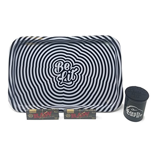 Bundle - 4 Items - Be Lit Rolling Tray with RAW Black Rolling Papers (Trippy) by Be Lit