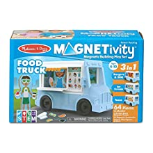 Melissa & Doug Magnetivity Magnetic Tiles Building Play Set – BBQ, Ice Cream, Taco Food Truck Vehicle (6 Panels, 55 Magnets, STEM Toy, Great for Girls & Boys-Best for 4, 5, 6, 7, 8 Year Olds and Up)