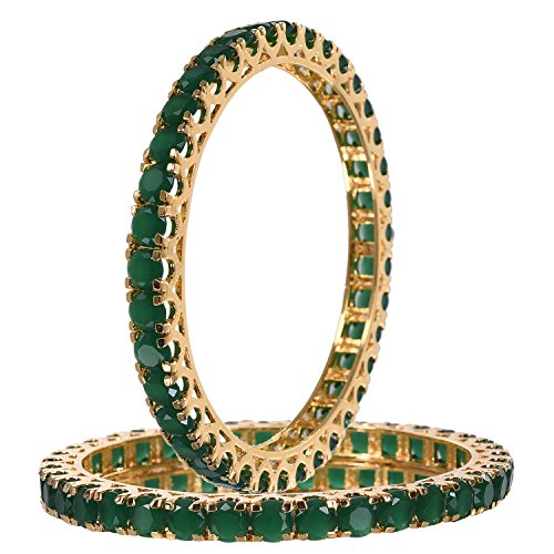 (RATNAVALI JEWELS CZ Zirconia Gold Tone Green Diamond Bollywood Indian Bangles Bracelet Jewelry Women)