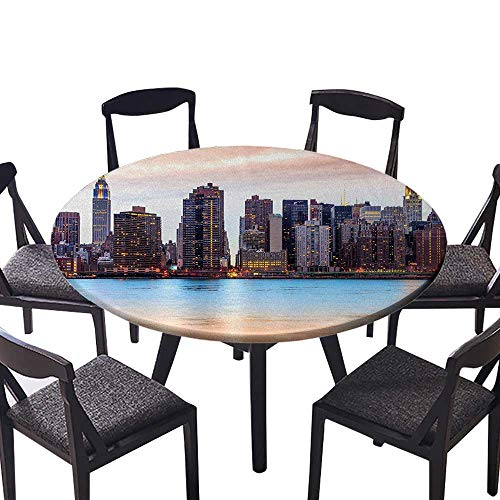 Round Premium Tablecloth Manhattan Skyline Midtown View from The Lake USA American City Artsy Picture Peach Stain Resistant 55