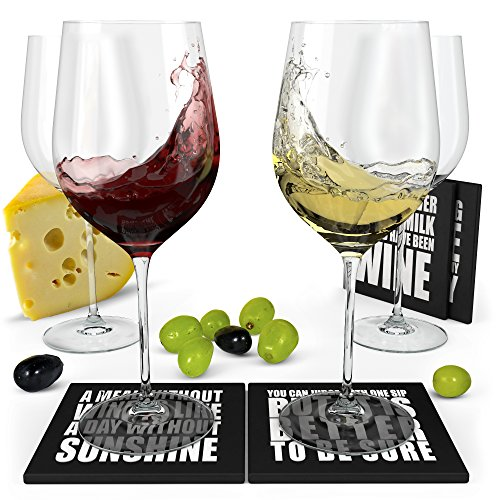 (Wine Science Crystal Wine Glasses Set of 4 with 4 Coasters - Hand Blown Premium Red Wine Glasses 19 oz)