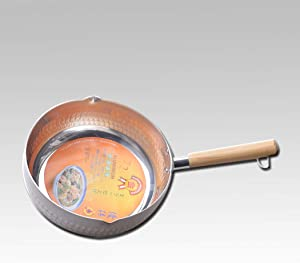 24cm single bottom silver Japanese style snow pan small milk boutique easy to use cooking pot noodle cooker induction cooker available(Size: 9.4 inches long x 3.1 inches high)