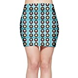 Colorful Vinyl Records Womenâ€s Bodycon Mini Knit Basic Stretch Short Pencil Skirt