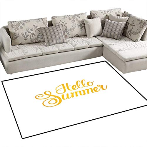 "Hello Summer Area Rugs for Bedroom Hello Summer Phrase Print in Zesty Yellow Hand Lettering Calligraphic Design Door Mats for Inside Non Slip Backing 48""x60"" Earth Yellow"