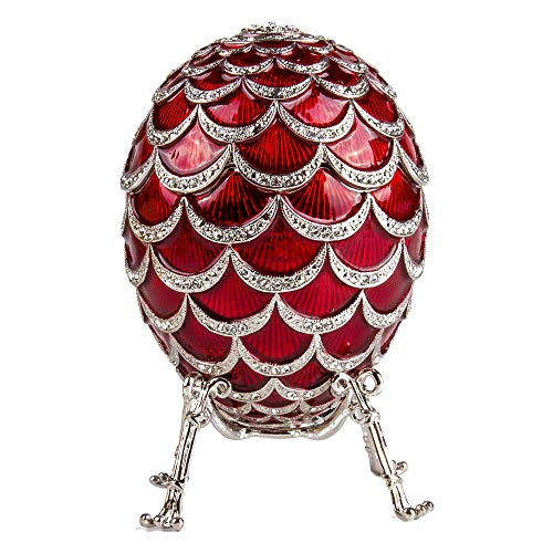 "Russian Style Egg Pine Cone with The Clock RED, 3.62"" / 9.2 cm (HJD1160CL)"