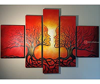 Modern Framed Red Tree Couples Wall Art Oil Painting 5 Piece