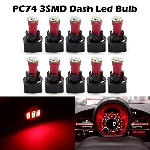 Partsam 10Pcs Red T5 Instrument Gauge Panel Cluster 3-3014-SMD LED Light Bulb w/ Lock Socket (Custom Instrument Cluster)