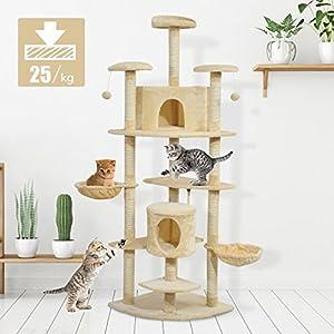 PawHut Árbol para Gatos Rascador Grande con Nidos Plataformas Casetas Bolas de Juego 200cm MDF Cubierto de Felpa Beige