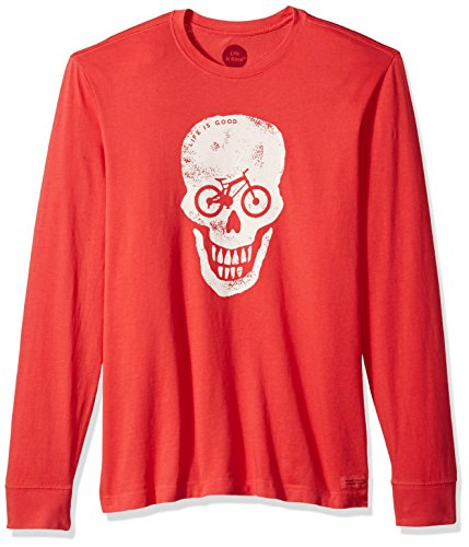 Life is good Men's Crusher Long Sleeve Bike Skull T-Shirt, Americana Red, (Bike Long Sleeve Tee)