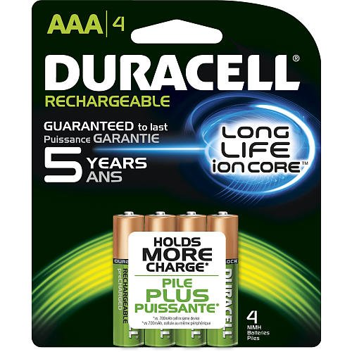 Duracell Pre Charged Rechargable Batteries Aaa 800 Mah Nimh Digital Cameras: Card Of 4 ()
