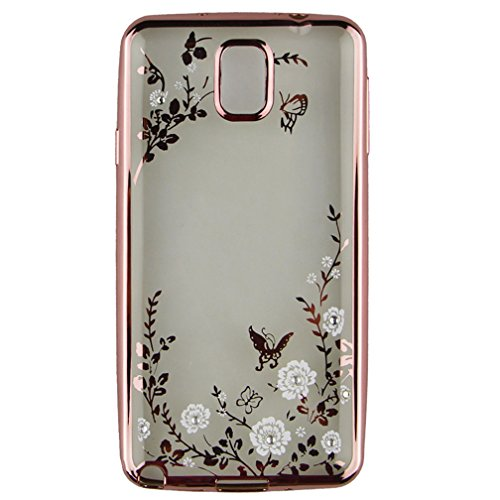 S5 Cover Samsung Galaxy S5 Cover ,EMAXELER Bling Swarovski Crystal Rhinestone Diamond Plating Frame Flexible TPU Cover for Samsung Galaxy S5 Butterfly & White flowers[Rose]