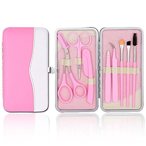 (LETB Pink Color 12 Pieces Eyebrow Trimming Kit Eyebrow Scissor&Comb Eyebrow Brush Grooming Set Tweezers and Razor Set Included Free Pink Travel Case for Girls Women)