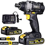 Impact Driver 20V, TECCPO 1600In-lbs Cordless Impact Driver Kit with 2pcs 2.0Ah Batteries, 30 Minutes Fast Charger, 0-2900RPM Speed, 1/4' All-metal Hex Chuck - TDID01P