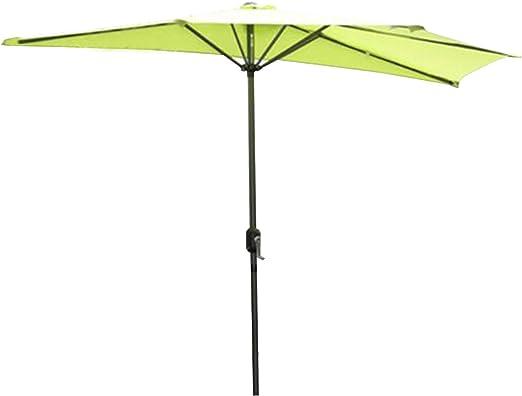 Angel Living Half Circular Parasol, Sombrilla Semicircular 270cm de Aluminio, Mástil Central de Aluminio de 38 mm, Para Jardín Patio (Manzana verde): Amazon.es: Jardín