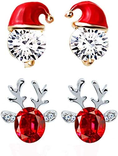Girls Santa Crystal Ear Studs 925 Sterling Silver