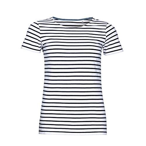 SOLS Womens/Ladies Miles Striped Short Sleeve T-Shirt (L) (White/Navy)