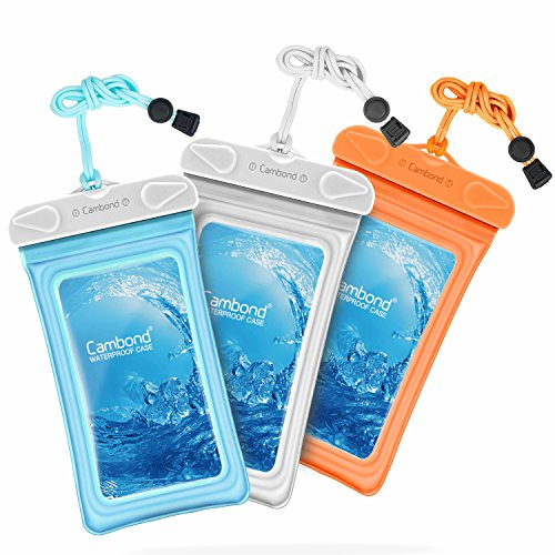 Waterproof Case, 3 Pack Cambond Universal Floating Waterproof Phone Case iPhone Waterproof Pouch Cell Phone Dry Bag Transparent TPU with Durable Lanyard for device up to 6 inch, Blue White ()