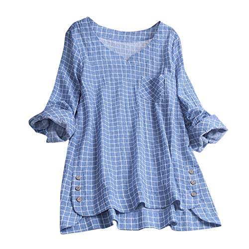 (HEJANG Women's Summer Plus Size Loose Linen Casual Short Tops Button Blouse Sleeveless Vintage Solid T-Shirt (XXXXXL, Blue4) )