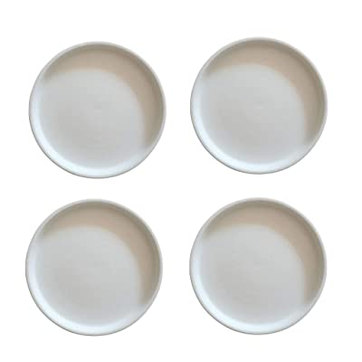 Sersberg 4.53 Inch Round Ceramic Plant Saucer for Succulent Pot Planter Set of 4, White : Garden & Outdoor