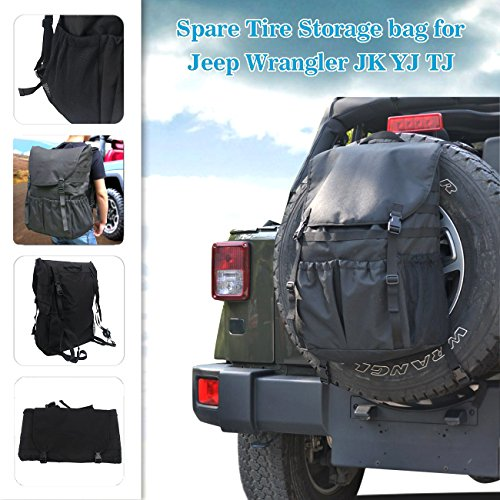 buyinhouse High-Capacity Backpack Cargo Saddlebag Spare Tire Storage Bag for FJ Cruiser Hummer Defender Jeep Wrangler SUV by buyinhouse