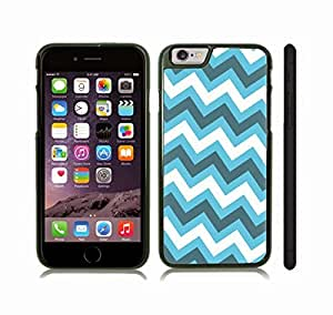 iStar Cases? iPhone 6 Plus Case with Chevron Pattern Sky Blue/ White/ Grey Stripe , Snap-on Cover, Hard Carrying Case (Black)
