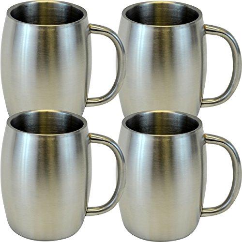 Southern Homewares Stainless Double Wall Steel Beer/Coffee/Desk Smooth Mug (Set of 4), 14 oz, - Timberline Stainless Mug Steel