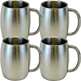 Southern Homewares SH-10156-S4 Stainless Double Wall Steel Beer/Coffee/Desk Smooth Mug (Set of 4), 14-Ounce, Silver