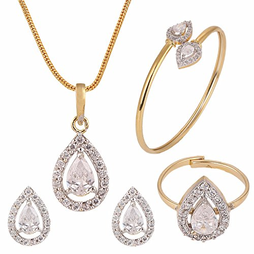 (Efulgenz Fashion Jewelry Set Halo Tear Drop Cubic Zirconia Crystal Pendant Necklace Set with Earrings, Bracelet and Ring for Women and Girls Brides and Bridesmaid)