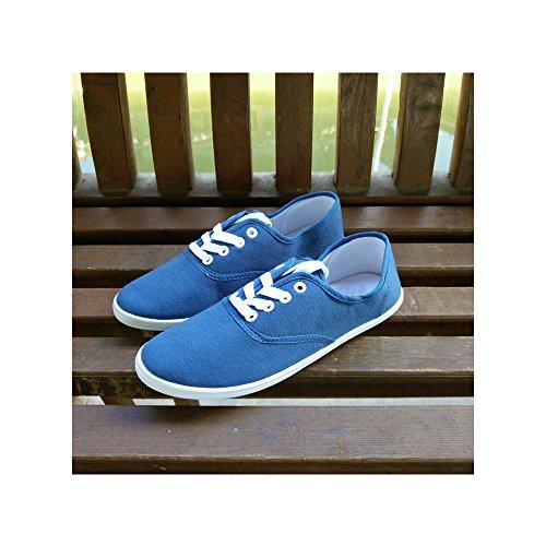 c3a38a5351c24 Marin De Chaussure Toile Femme Léger Tennis Mode Ochenta Baskets Basse  Sneakers Sport Bleu En axCw1O