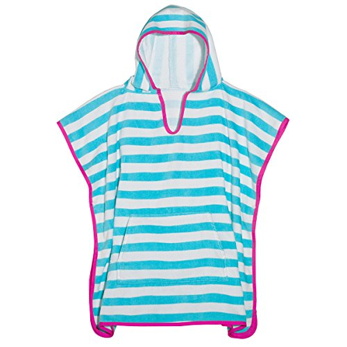 3C4G Stripes Terry Cotton Poncho Cover Up, (Girls Poncho Towel)