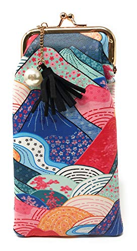 (Value Arts Japanese Kimono Mountains Eyeglass Case Pouch, 7 Inches Long )