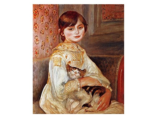 Alonline Art - Julie Manet With Cat Auguste Renoir VINYL STICKER DECAL 12