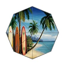 Simple Surfboards Design Umbrella - Surfboards and Palm Trees and Beach Pattern Auto Foldable Umbrella