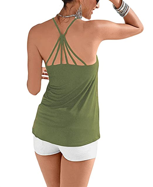 0e59dca56f8290 Women s Stylish Strappy Back Detail Cami Top Tank top Cami Shirts ((US  14-16) XL