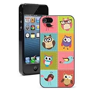 For Apple iPhone 5 5S Hard Case Cover Patch Work Owls Birds