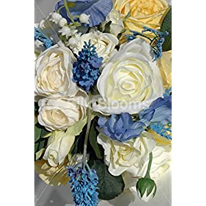 Vintage Style Ivory Yellow Rose Bridal Bouquet w/ Blue Sweetpea 2