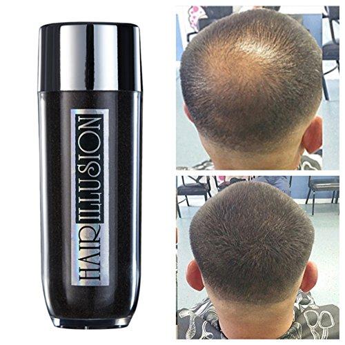 HAIR ILLUSION - 100% Natural Human Hair FibersNot Synthetic For Men & Women,Premium Hair Building Formulation, ~ LARGE 38g Bottle (dark brown)