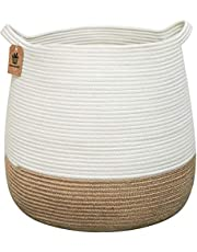 Goodpick Cotton Rope Storage Basket- Jute Basket Woven Planter Basket Rope Laundry Basket with Handles for Toys, Blanket and Pot Plant Cover