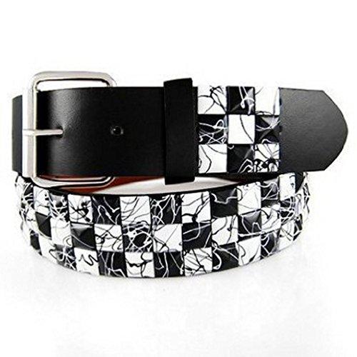 ETCHED Black and White Studded Belt Medium