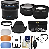 55mm Essentials Bundle with Fisheye + Tele/Wide-Angle Lenses + 3 Filters + Lens Hood + 3 Pop-Up Diffusers + Kit