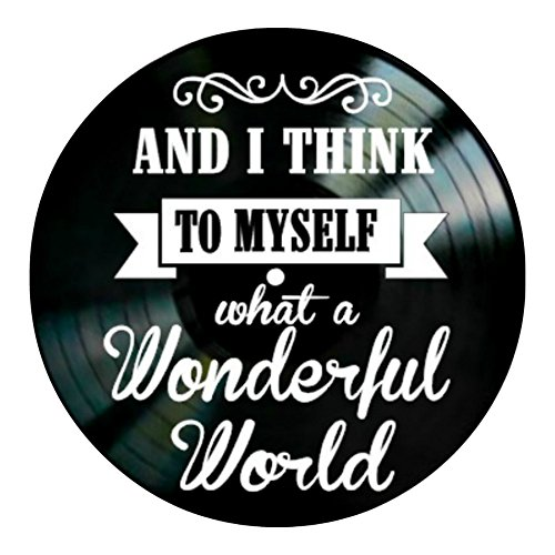 What A Wonderful World song lyrics on a Vinyl Record album Wall Decor by VinylRevamped