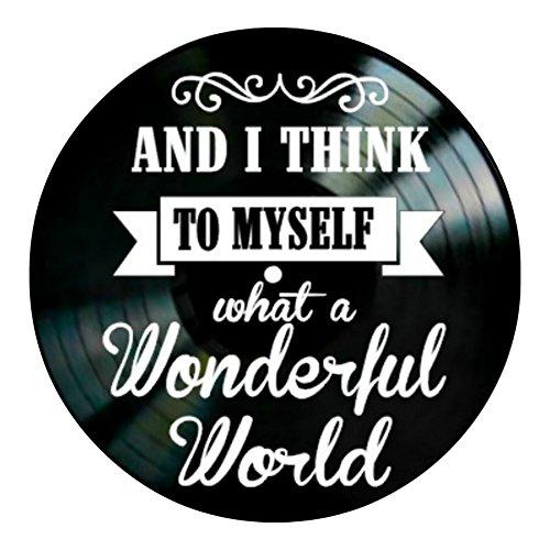 What A Wonderful World song lyrics on a Vinyl Record album Wall Decor by VinylRevamped