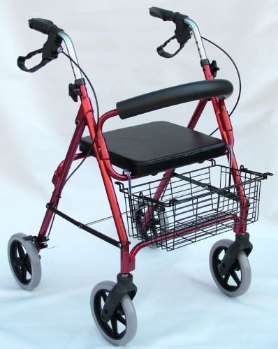Rollator - Junior Burgundy Lighweight folding aluminum rollator woth comfort contour hadn grips, locking hand brake, multi purpose basket, padded back support, thick padded seat, weight limit 250lbs