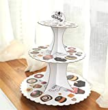 Sevenpring Peculiar Design Paper Cartoon Birthday Party Cake Rack Party Dessert Tray (Cake Coffee)