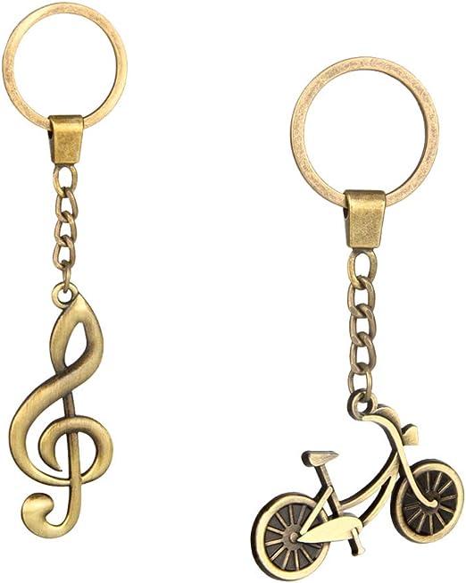 sharprepublic 2X Llaveros de Bicicleta + Nota Musical de Cobre ...