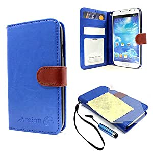 Areion Luxury Flip PU Leather Travel Wallet Card Slot Case Cover For Galaxy S4 (Blue)