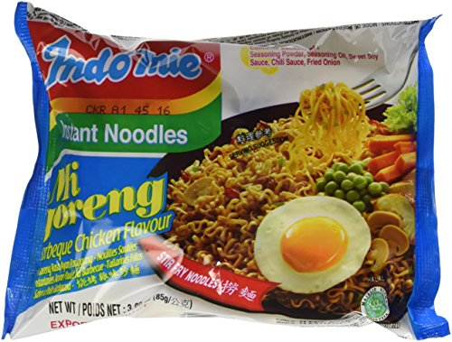 Indomie Instant Fried Noodles BBQ Chicken Flavor for 1 Case 30 Bags