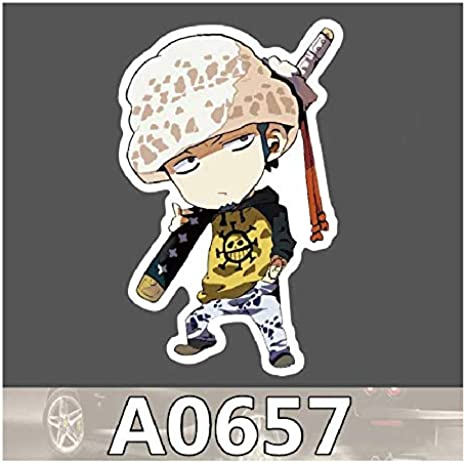 Amazon.com: One Piece Trafalgar Law Waterproof Sticker Single Sale Cool Laptop Luggage Fridge Phone Graffiti Notebook Stickers: Clothing
